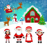 Beautiful winter landscape Santa's house. Santa and friends.Vector Illustration. Royalty Free Stock Photography
