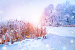 Free Beautiful Winter Landscape Scene With Ice River Stock Image - 84607651