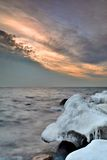 Beautiful winter landscape, and Sea - in depth, output from the marina Gdansk Stock Photo