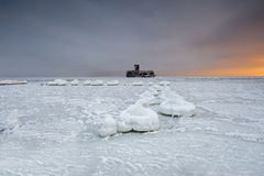 Beautiful winter landscape, and Sea Stock Photos