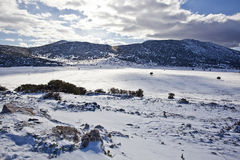 Beautiful winter landscape with snow covered mountain Stock Photography