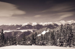 Beautiful winter landscape with snow covered mountains. Stock Photos
