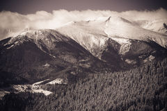 Beautiful winter landscape with snow covered mountains. Royalty Free Stock Photos