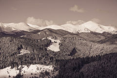 Beautiful winter landscape with snow covered mountains. Stock Photography