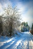 Beautiful winter landscape with snow covered road on frosty day royalty free stock photography