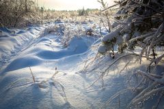 Beautiful winter landscape with snow covered road on frosty day stock photo
