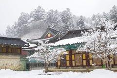 Odaesan Woljeongsa temple at snowy winter in Pyeongchang, Korea. Odaesan Woljeongsa temple at winter in Pyeongchang, Korea Royalty Free Stock Photos