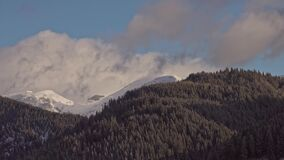 Beautiful winter landscape with snow covered trees. And cloudy sky. timelaspe stock footage