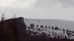 Beautiful winter landscape with snow covered trees. And cloudy sky stock video footage