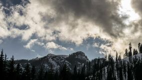 Beautiful winter landscape with snow covered trees. And cloudy sky. timelaspe stock video