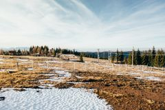 Beautiful winter landscape in snowy mountains. On a sunny day Royalty Free Stock Images