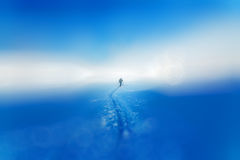 Beautiful winter landscape and snowy with skier. Blur background. Stock Photos