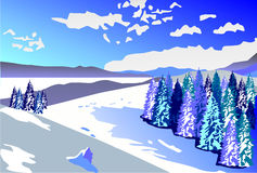 Beautiful winter landscape. Snowy slopes and forest. On a background of the cloudy sky Royalty Free Stock Photo