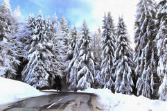 Beautiful winter landscape with snowy trees. Colorful painting royalty free stock image