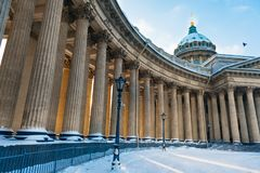 Beautiful winter landscape in St. Petersburg. Snowy winter in the city. Russian winter. Kazan Cathedral at sunset royalty free stock images