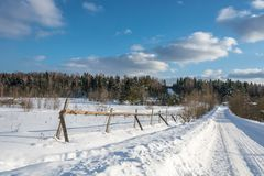 A beautiful winter landscape in a sunny frosty day. Royalty Free Stock Photos