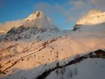 Beautiful winter landscape of totes gebirge mountains Stock Photo