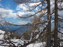Beautiful winter landscape of totes gebirge mountains. In austria Royalty Free Stock Images