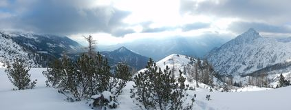 Beautiful winter landscape of totes gebirge mountains. In austria Stock Photography