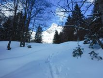 Beautiful winter landscape of totes gebirge mountains Stock Photography