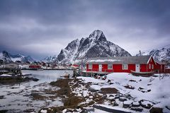 Beautiful winter landscape with traditional Norwegian fishing huts in the Lofoten islands, Norway royalty free stock photography