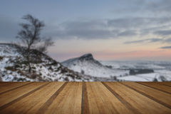 Beautiful Winter landscape at vibrant sunset over snow covered c Royalty Free Stock Photography