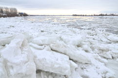 Beautiful winter landscape on Vistula river in Poland Stock Photo