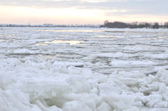 Beautiful winter landscape on Vistula river in Poland Royalty Free Stock Photos