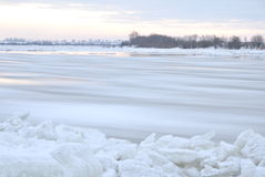 Beautiful winter landscape on Vistula river in Poland Stock Photos