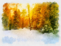 Beautiful winter landscape, watercolor. Colorful landscape at the winter sunrise in the mountain forest Royalty Free Stock Images