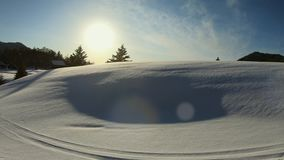 Beautiful winter landscape with white snow in  a sunshine day. stock video