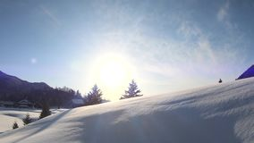 Beautiful winter landscape with white snow in a sunshine day. Beautiful winter landscape with white snow in  a sunshine day stock footage