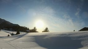 Beautiful winter landscape with white snow in a sunshine day. Beautiful winter landscape with white snow in  a sunshine day stock video footage