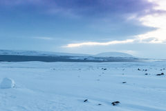 Beautiful winter landscape windy and covered snow in Iceland Royalty Free Stock Photography