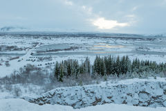 Beautiful winter landscape windy and covered snow in Iceland Royalty Free Stock Image