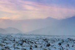 Beautiful winter landscape windy and covered snow in Iceland Stock Photography