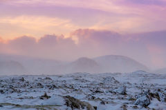 Beautiful winter landscape windy and covered snow in Iceland Royalty Free Stock Images