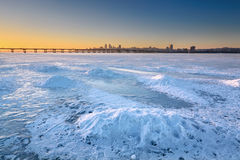 Free Beautiful Winter Landscape With Frozen River And Sunset Sky I Stock Photos - 95443233