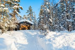 Winter landscape in Finland stock photo