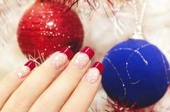 Beautiful winter manicure. Stock Photo
