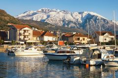 Free Beautiful Winter Mediterranean Landscape. Fishing Boats In Harbor On Background Of Snowy Mountain Peaks. Montenegro, Tivat City Royalty Free Stock Photography - 138188327