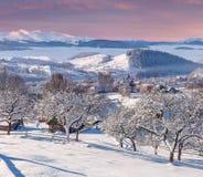 Beautiful winter morning in mountain village. Beautiful winter morning in the mountain village Stock Image