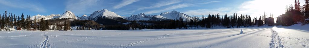 Beautiful winter morning panorama image. Snow peaked mountain ranges with tall pine trees and a wide flat land covered with snow showig trails of vehicles Royalty Free Stock Photography
