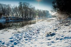 Beautiful winter morning on the river Royalty Free Stock Photo