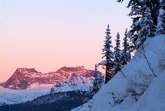 Beautiful winter morning with snow covered trees. At mountains Royalty Free Stock Photos