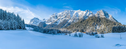 Beautiful winter mountain landscape in the Bavarian Alps, Bavaria, Germany. Panoramic view of beautiful winter mountain landscape in the Bavarian Alps with Stock Photos