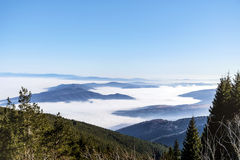 Beautiful Winter mountain landscape from Bulgaria. fog Royalty Free Stock Images