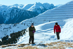 Beautiful winter mountain landscape and family. Stock Images