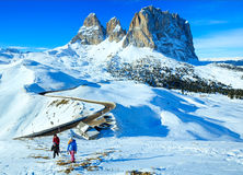 Beautiful winter mountain landscape and family. Royalty Free Stock Images