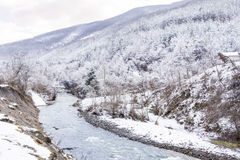 Beautiful Winter mountain landscape with river from Bulgaria Royalty Free Stock Photos
